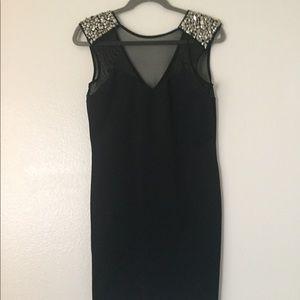 Sparkle and Fade Black Mesh Studded Mini Dress